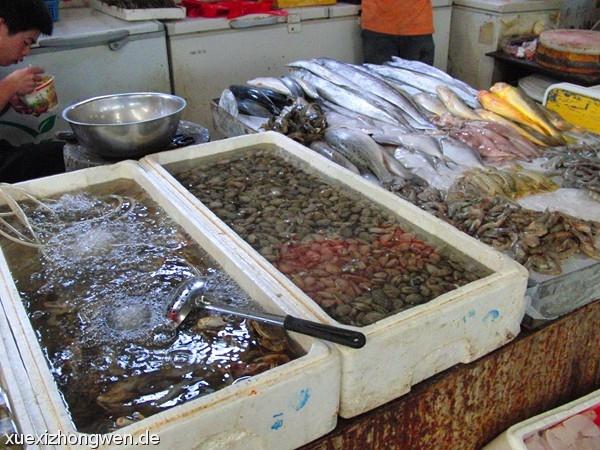Lebendauslage Seefrüchte