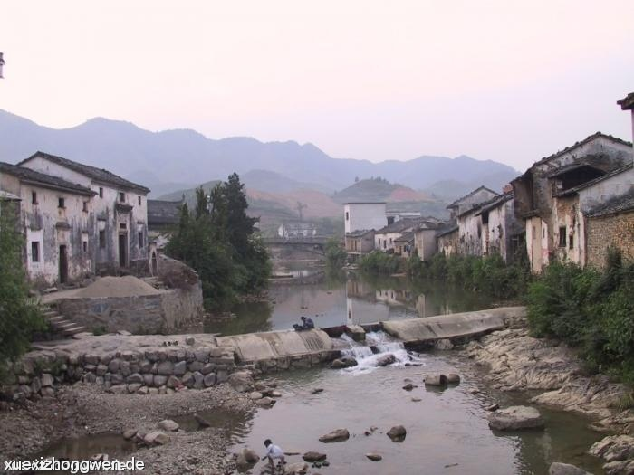Wäscherin im Dorf Shexian