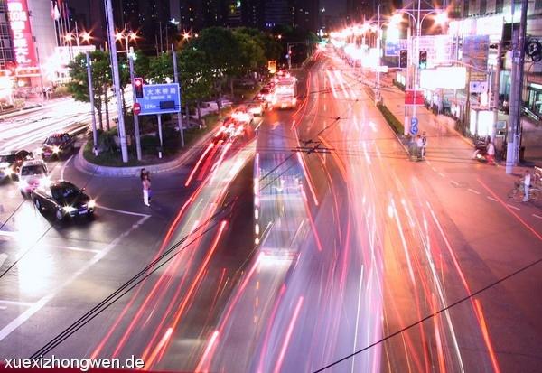 8 Sekunden Abendverkehr in Shanghai